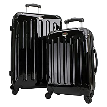 Swiss Case 4 Wheel Hard 2Pc Suitcase Set Black: Amazon.co.uk: Luggage
