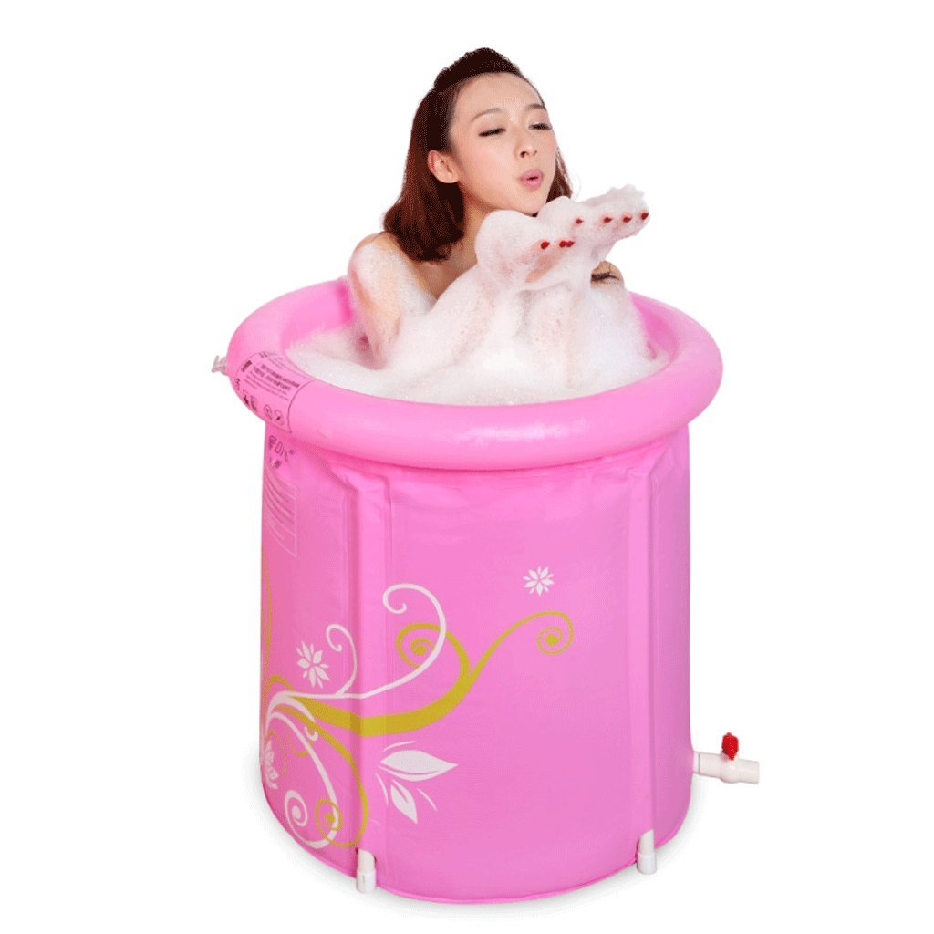 Large Inflatable bath tub, folding bath tub - bath tub, adult bath tub, home thickening large bath tub - environmental predection PVC, plastic material, cotton insulation bath tub (pink) (Size   M)
