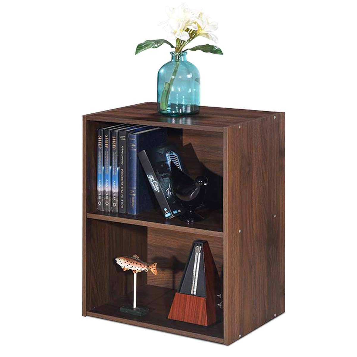 Giantex Bookshelf and Bookcase 2-Layer Storage Shelf, W Large-Capacity Open Storage Space, MDF P2 Veneer, for Living Room Bedroom Study Office Multi-Functional Furniture Display Cabinet Walnut, 1