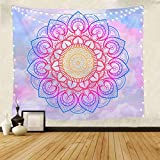 Pink and Blue Mandala Tapestry - Psychedelic Indian Bohemian Mandala Wall Blanket for Room Decor 51x59 Inches
