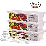 Silvio, contenitori per alimenti per il frigorifero a tenuta stagna, con piano di sgocciolamento, confezione da 3 pezzi