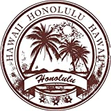 Honolulu Hawaii Grunge Rubber Stamp Home Decal Vinyl Sticker 12'' X 12''
