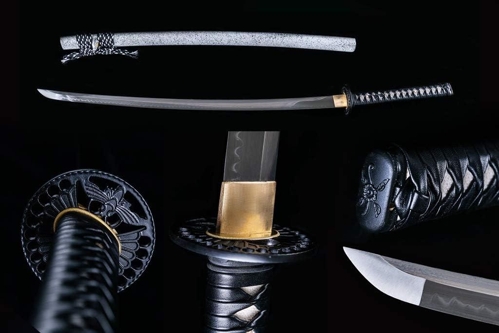 BOHIHYU Handforged Ninja Samurai Katana, Damascus steel/1060/1095 High Carbon Steel, Full Tang Blade, Real Battle Swords, Iron Tsuba, Solid Wood Saya, Suitable for Outdoor Training