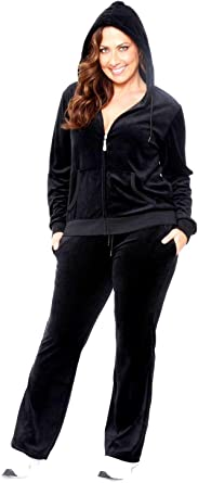 Women S Plus Size Velour Fleece Zip Up Hoodie Tracksuit Set Jogging Pants At Amazon Women S Clothing Store