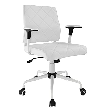Modway Lattice Modern Faux Leather Mid Back Executive Office Chair In White