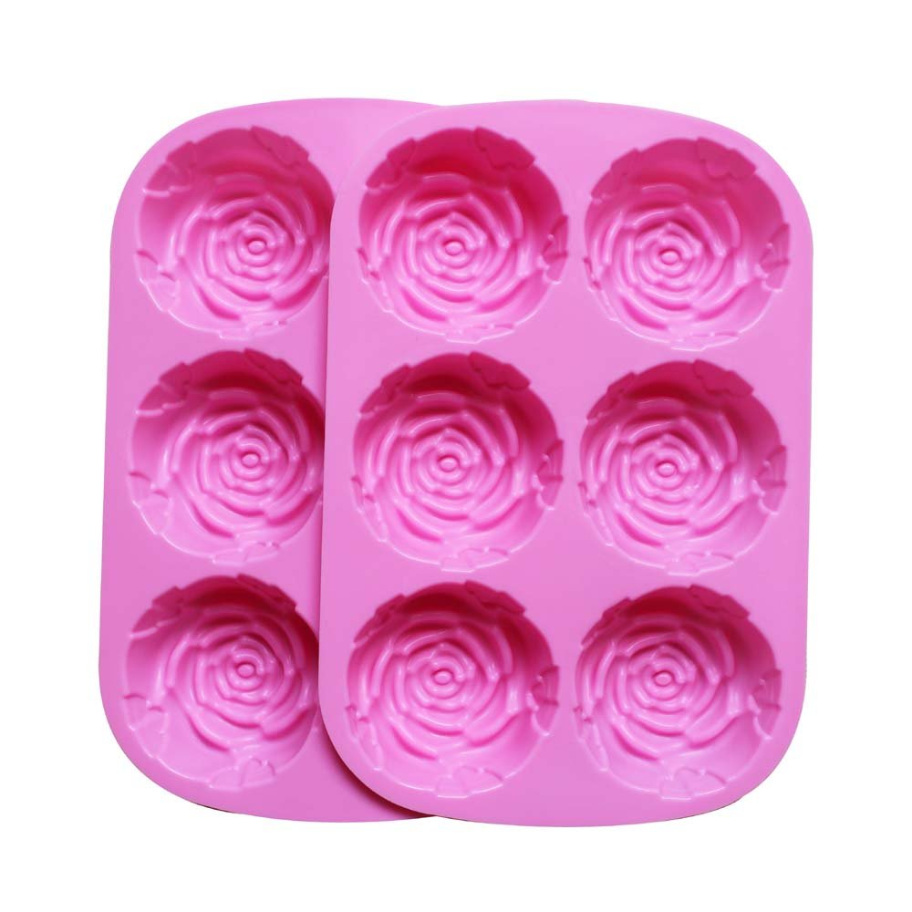 BAKER DEPOT Silicone Mold for Handmade Soap, Cake, Jelly, Pudding, Chocolate, 6 Cavity Rose Design, Set of 2 6 CDSM-1047