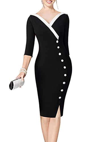 SYLVIEY Womens Sexy V Neck Chic Wear to Work Bodycon Business Pencil Dress