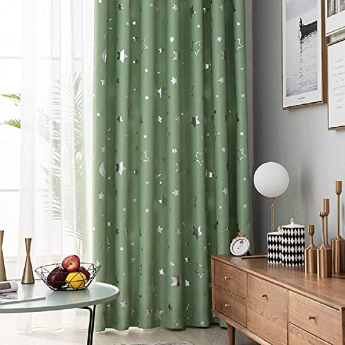 TIYANA Green Curtain Panel 96 inch Long for Living Room Bedroom Kitchen Backdrop Room Darkening Thermal Insulated Grommet Top, Stars and Moon, 1 Panel 75×96 inch