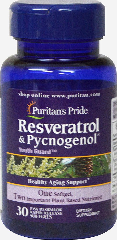 Puritan's Pride Resveratrol 100 mg & Pycnogenol 30 mg-30 Softgels