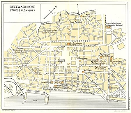 THESSALONIKI vintage town city plan Thessalonique Greece 1956