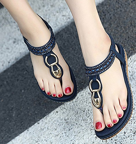 Maybest Women Sandwich Sandals Rhinestone Clip Toe Beach Shoes Elastic T-Strap Bohemia Flat Slippers Thongs Flip Flop Blue 9 B (M) US Photo #8