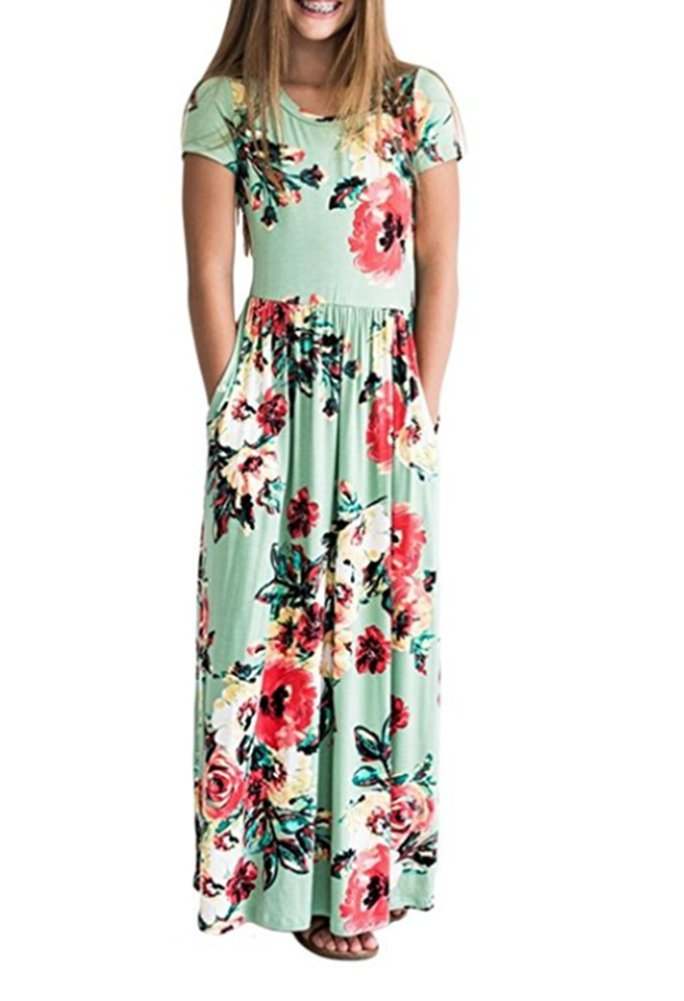 Yancorp Girls Party Dresses Children Summer Beach Casual Kids Long Maxi Dress Floral with Pockets 3-10Years (Green, 120(7-8Years))