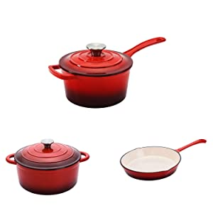 Hamilton Beach Cast Iron Round Sauce Pan with Dutch Oven Pot and Frying Pan, Red