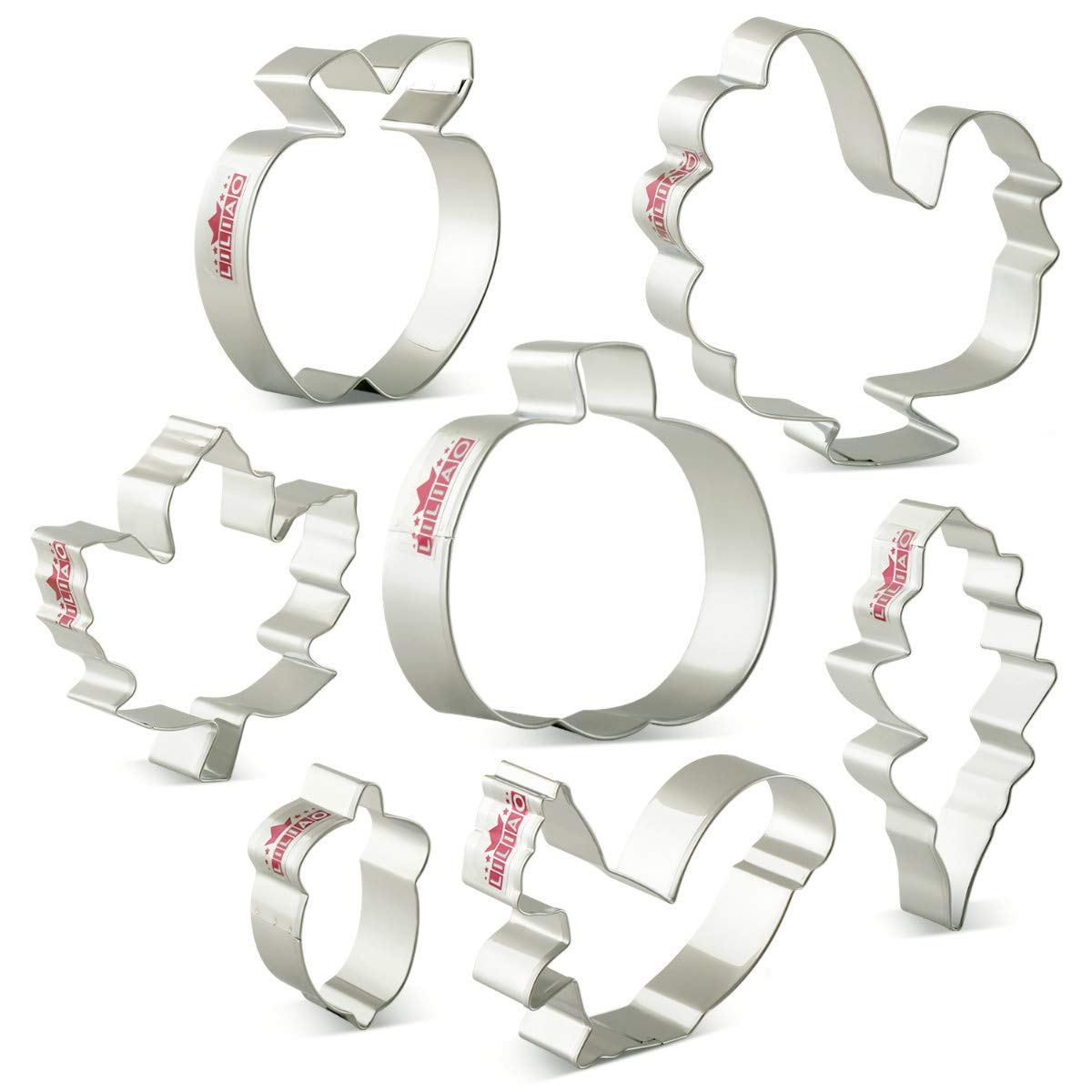 LILIAO Fall Thanksgiving Cookie Cutters Set - 7 Piece - Turkey, Pumpkin, Maple Leaf, Oak Leaf, Squirrel, Acorn and Apple Cutter - Stainless Steel