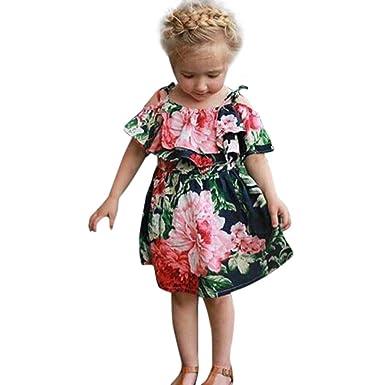 b58210257 Amanod Toddler Baby Girls Kids Cute Floral Romper Princess Off-Shoulder  Dress (3T,
