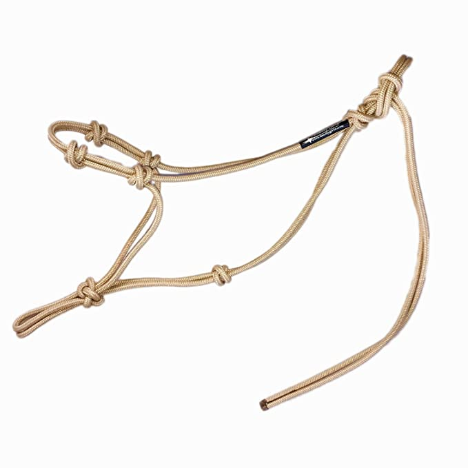"""Horse Rope Training Halter - 4 Knot from 1/4"""" Stiff Polyester Halter Cord - Size Rope Most Trainers Use! Weanling, Yearling, Small, Arab, Standard, Large, and Draft Sizes (Beige, Small)"""