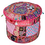 Stylo Culture Decorative Indian Cotton Patchwork Embroidered 16'' Ottoman Stool Pouf Cover Pink Floral Footstool Floor Cushion Cover Ethnic Decor