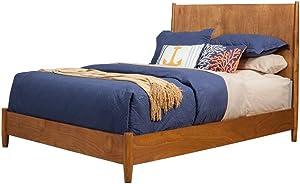 Alpine Furniture Mid Century Platform Bed, Standard King, Acorn