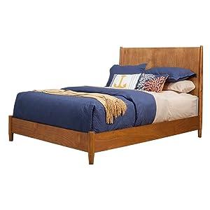 Alpine Furniture Mid Century Platform Bed, Full, Acorn