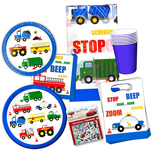 Cars and Trucks Party Supplies Ultimate Set -- Birthday Party Decorations, Party Favors, Plates, Cups, Napkins and More (Things That Go Party Supplies) by Cars and Trucks Party Supplies