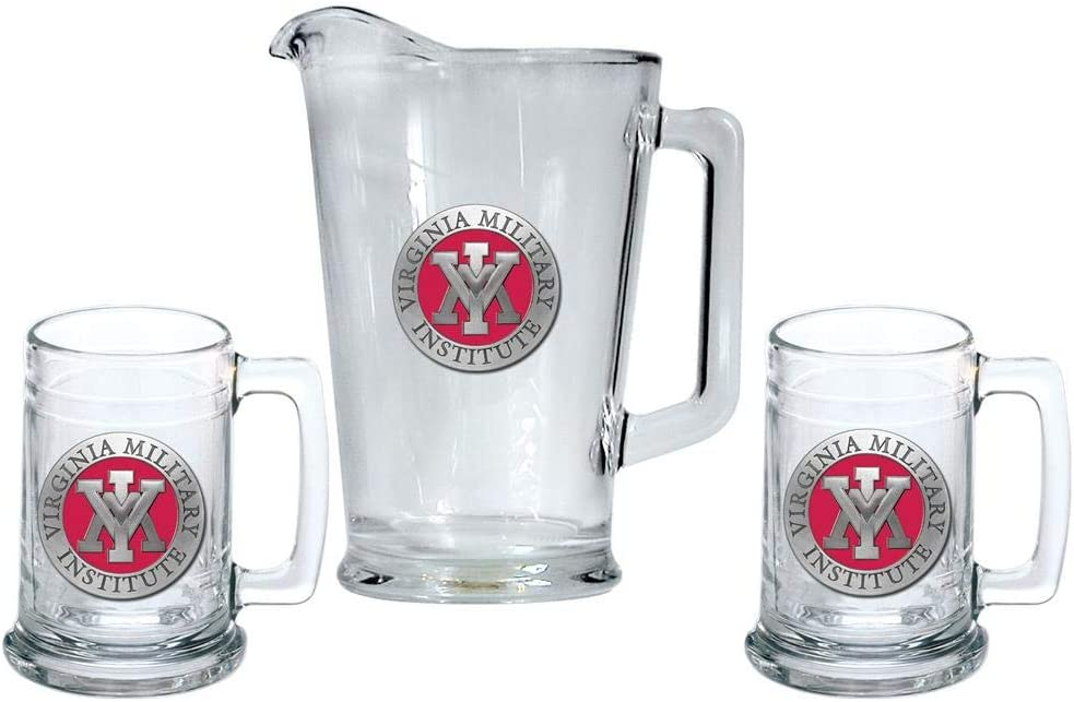 Heritage Metalwork Virginia Military Institute Keydets VMI Pitcher and 2 Stein Glass Set Beer Set