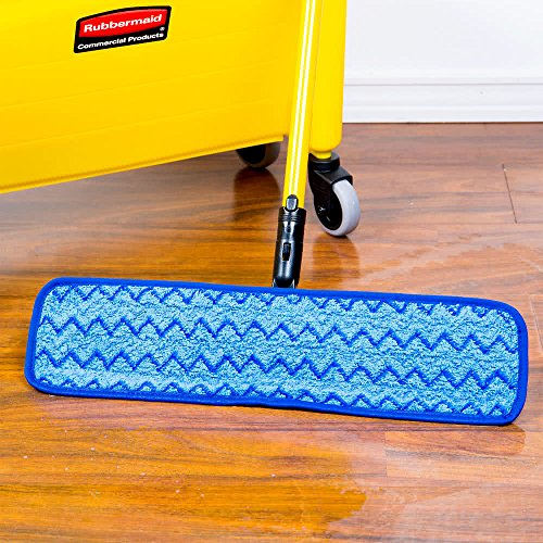 Rubbermaid Commercial Products HYGEN Microfiber Damp Room Mop Pad, 18-inch, Blue (FGQ41000BL00) by Rubbermaid Commercial Products (Image #5)