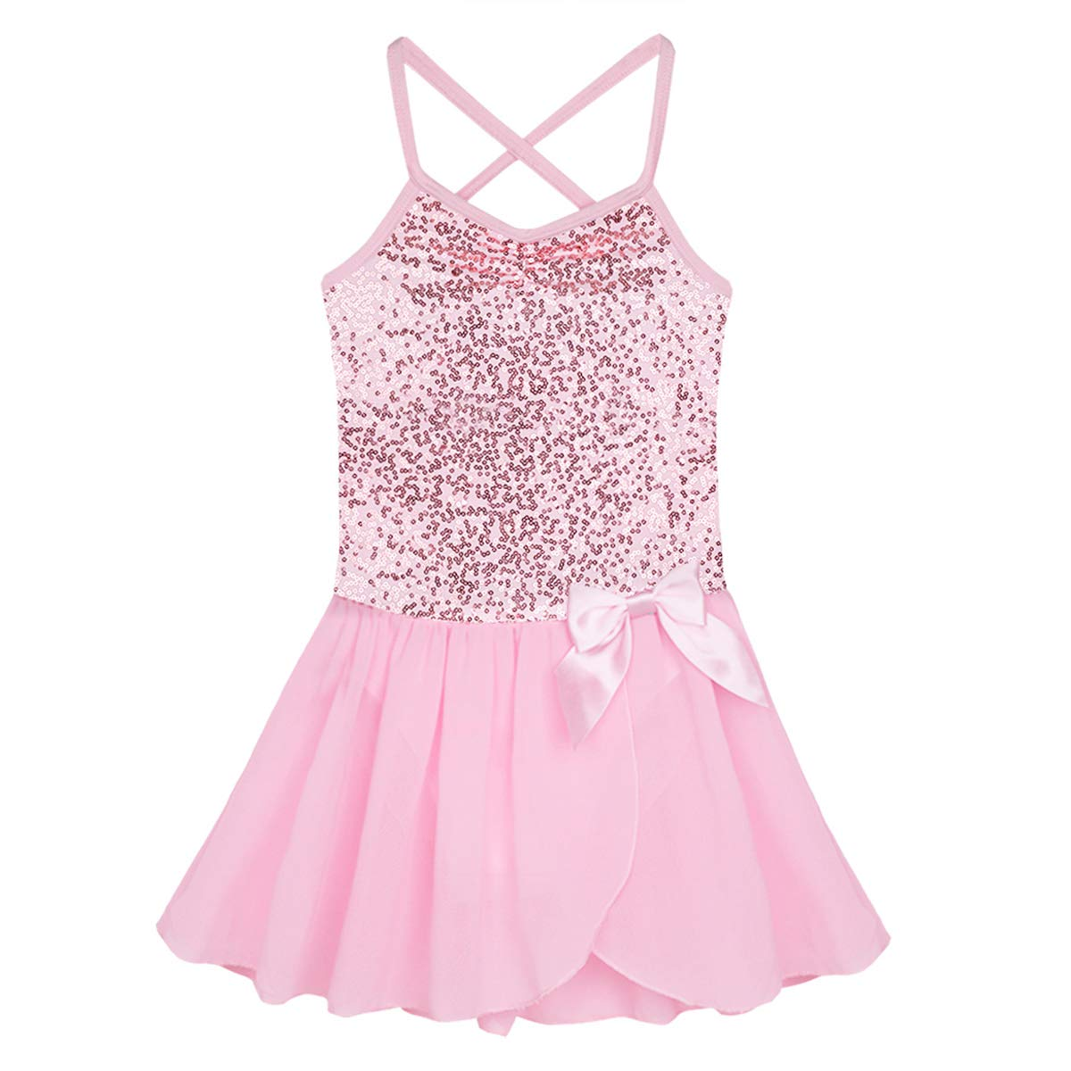 FEESHOW Girls Sequined Camisole Ballet Dress Leotard Chiffon Skirt Sparkly Fairy Dance wear Costumes Pink 5-6 by FEESHOW