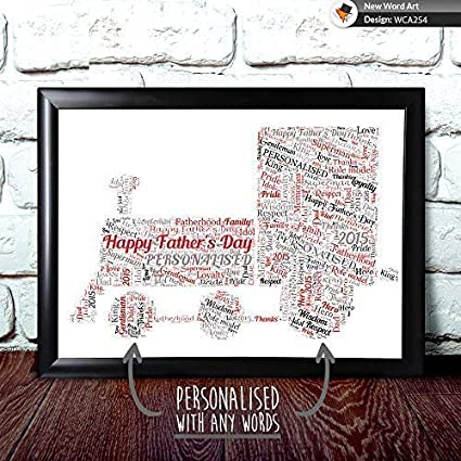 Tren Palabra Póster Impreso para Cualquier Papá, Padre Día Tarjeta o Regalo de Navidad, Marco de Fotos Mejora Opciones