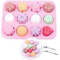 Fablcrew - Stampo in silicone per dolci, con diverse forme: fiori, stella, cuore, per gelatine, dolci, saponi, colore rosa