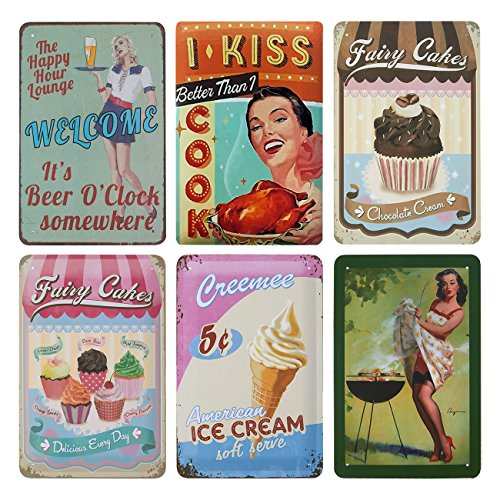 Juvale 6-Piece Tin Signs - Vintage Style Metal Signs As Wall Decor, Decorative Coffee Bar Sign, Food and Cook Theme, 11.8 x 8 Inches