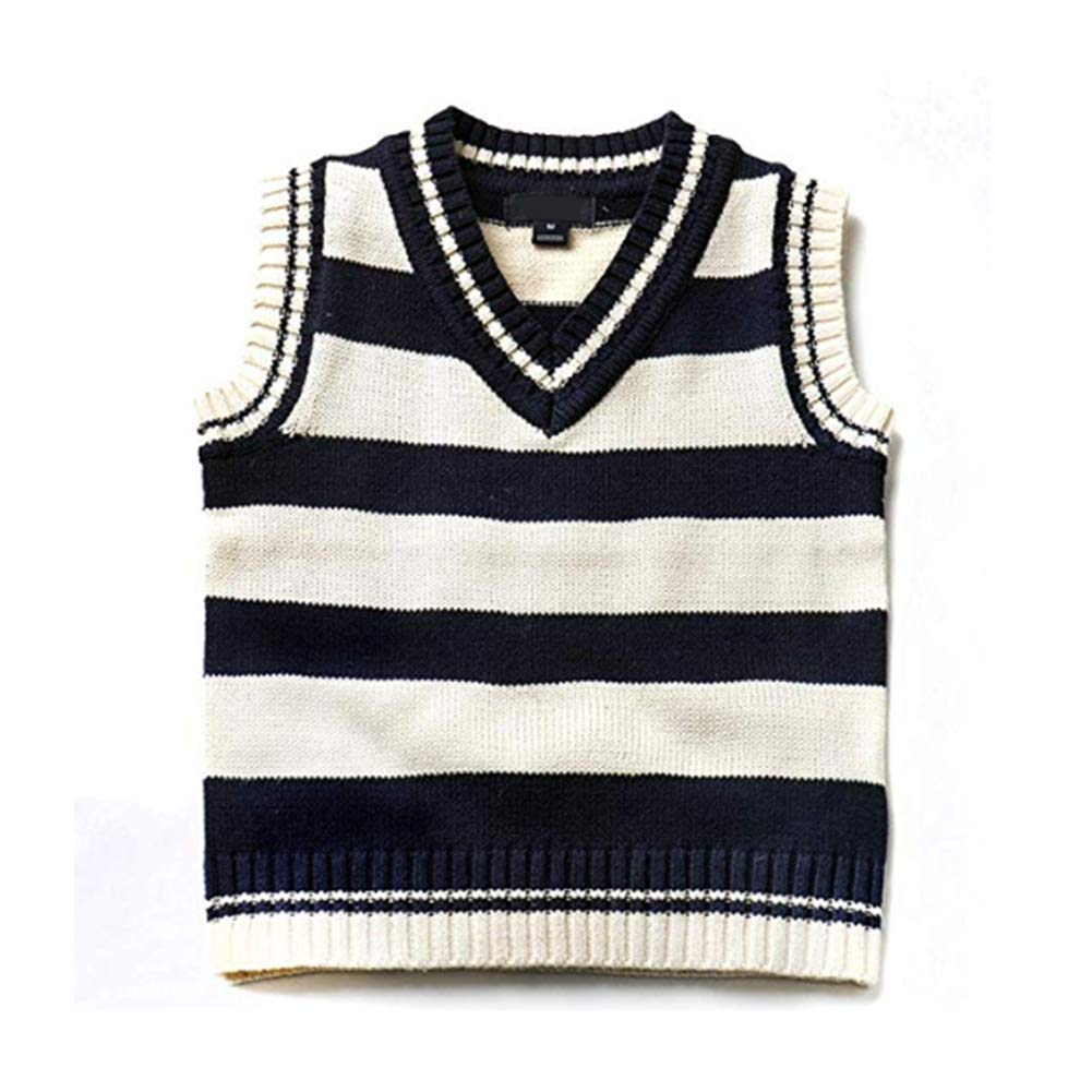 2-7 Years Digirlsor Boys Girls Striped Cable Knit Sweater Pullovers Kids V-Neck Sleeveless Vest Waistcoat