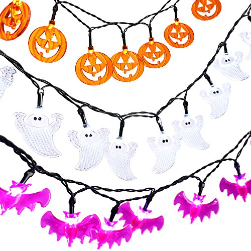 Icicle Halloween String Lights, Set of 3 Battery-Powered Jack-O-Lantern Decorative Lights with 20LED for Indoor/Outdoor Decorations White Ghosts, Orange Pumpkins, Purple -