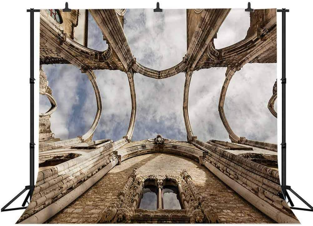 8x8FT Vinyl Backdrop Photographer,Antique,Upward View of Carmo Ruins Background for Party Home Decor Outdoorsy Theme Shoot Props