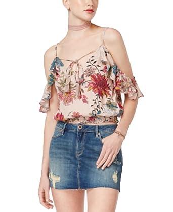 e5445876528425 Amazon.com  American Rag Juniors  Floral-Print Cold-Shoulder Top ...