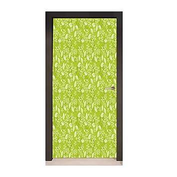 Amazon.com: Homesonne Leaves Door Wallpaper Green Blossoming ...