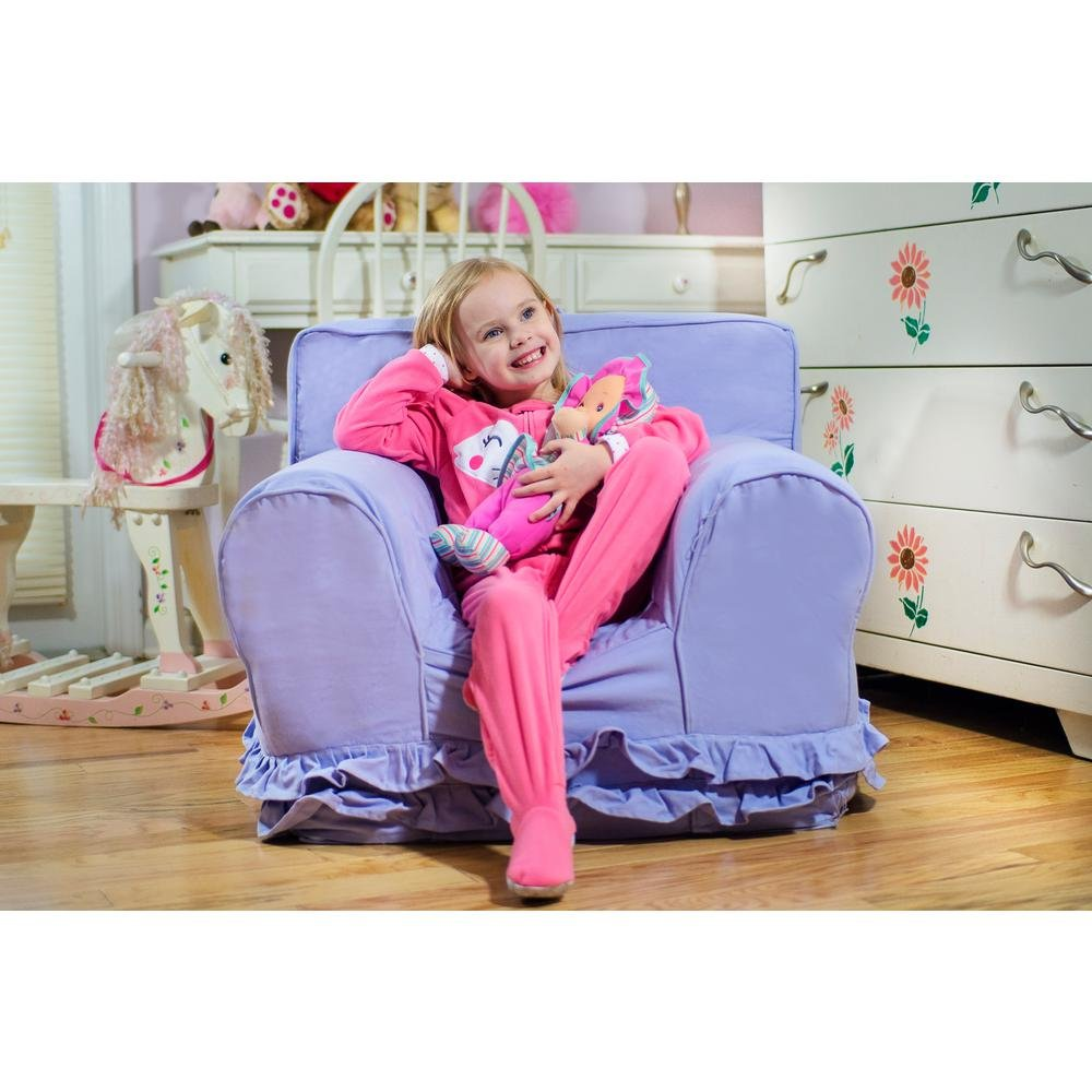 Kids, Machine-washable Slipcover, Durable, Regular Size Foam Chair with Lavender Ruffle Cover
