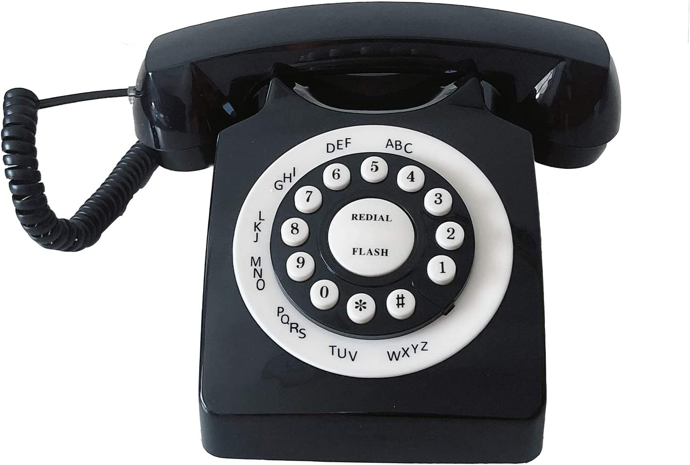 Retro Corded Landline Phone, TelPal Classic Vintage Old Fashion Telephone for Home & Office, Wired Home Phone Gift for Seniors (Black)