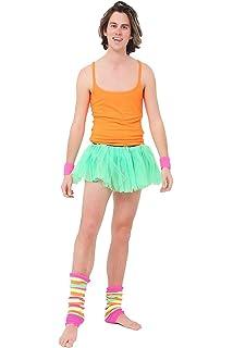 24c15bd395 Crazy Chick® Adult Gay Fancy Dress With 2 Layer Tutu Skirt, Rainbow Leg  Warmer, Wrist Band, Orange Vest - Gay Pride…