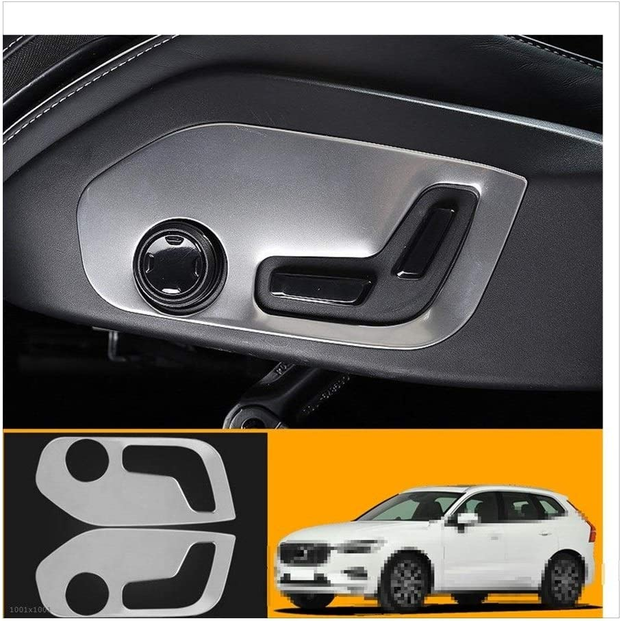 SSGLOVELIN Stainless Steel Accessories Interior Car Auto Interior Seat Button Frame Cover Trim 2PCS Fit For Volvo S90 V90 2017-2019