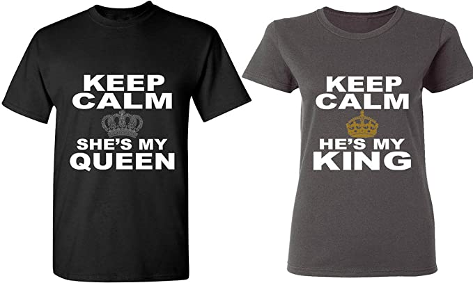2da018660d Image Unavailable. Image not available for. Color: Keep Calm She is My Queen  & Keep Calm He is My King - Matching Couple