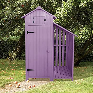 Sentry Box Wooden Garden Tool Shed And Log Store   PLUM PURPLE