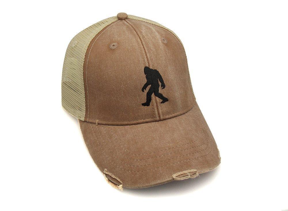 Trucker Hat - Bigfoot Silhouette - Men's Distressed Mesh Backed Hat