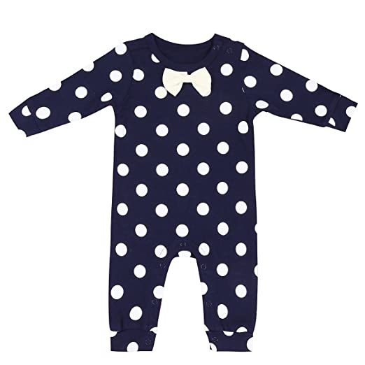 d921e6dd5 YiZYiF Baby Girls' Boys' Cotton Polka Dots Romper Pajamas Outfits Bodysuits  Navy Blue 12