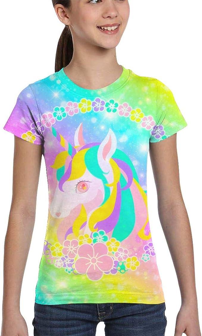 3D Printed T-Shirts Bright Rainbow and Unicorns On Dark Blue Short Sleeve Tops T