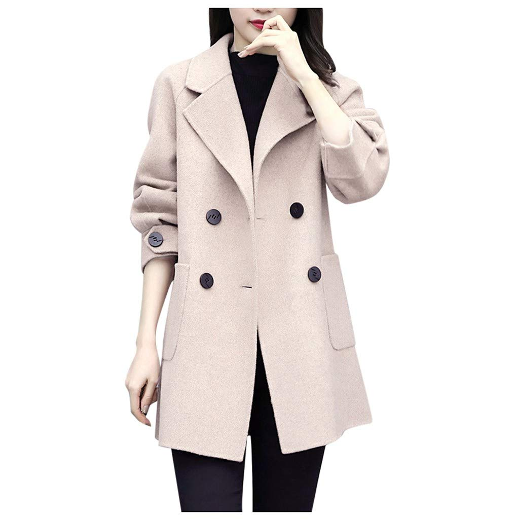 ✪COOLGIRLS✪~Clothing Women Work Solid Vintage Winter Office Long Sleeve Button Woolen Jacket Coat Beige by ✪COOLGIRLS✪~Clothing