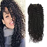 """Full Shine 14"""" 7 Pcs 100g Curly Hair Clip Ins For African Hair Extensions American Women Natural Hair Full Head Clip In Remy Human Hair Extensions Curly Black Remy Human Hair for Black Women"""