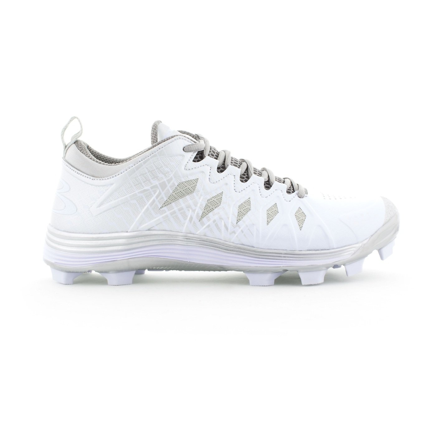 Boombah Men's Squadron Molded Cleats - 8 Color Options - Multiple Sizes B076637F6P 9|Silver/White