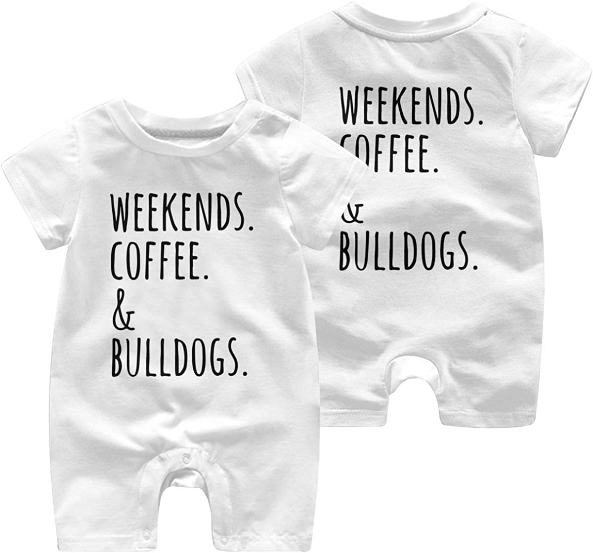 Mri-le1 Newborn Kids Jumpsuit Weekends Coffee English Bulldog 1 Baby Rompers