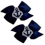 Girls Nautical Anchor Pinwheel Hair Bow SET (Baby Snap Clip, Navy Blue & White)
