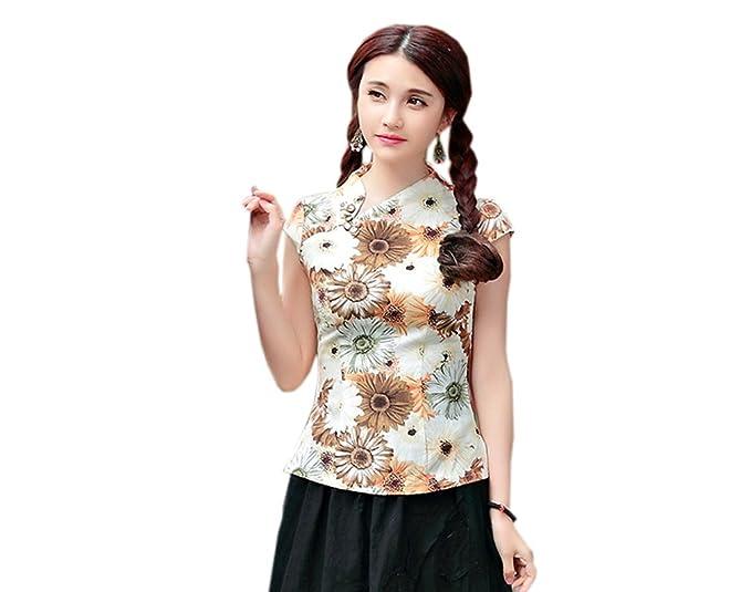 YueLian Mujeres Blusa de Temperamento Elegante Estampada Camiseta del Verano Diaria La Mejora de Camisetas (